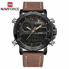 Herrenuhr Armbanduhr echt Leder Digital Analog Edelstahl Quarz Braun Wasserdicht