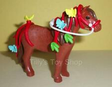 Playmobil Brown Shetland Pony, Decorated Red Bridle -Stables/Farm/Horse sets-NEW