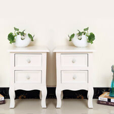 Fashion White Pair Bedside Tables Unit Nightstand Cabinet with Drawers Bedroom