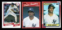 3 DEION SANDERS CARD LOT 1990 TOPPS #61 DONRUSS #427 & FLEER #454 YANKEES