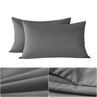 Queen Size 20*30'' Zipper Pillowcase Pillow Case Shams Cover Microfiber Gray US