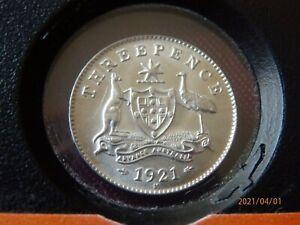 Australia threepence 1921M, chUNC