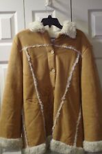 Disney Tinkerbell Coat Womens Jacket Tink Stitched Image Faux Suede & Sherpa XL