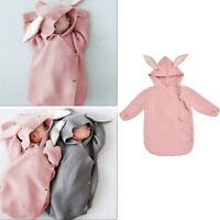 Newborn Baby Knit Swaddle Wrap Infant Rabbit Ear Swaddling Blanket Sleeping Bag