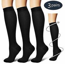 (3 Pairs) S-XXXL Compression Socks Knee High 20-30mmHg Graduated Mens Womens