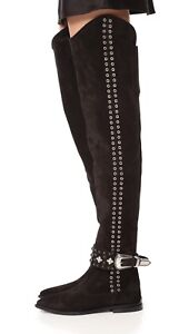 $890 TOGA PULLA Over the Knee Boots Rivets Suede Boots Thigh High Booties 36