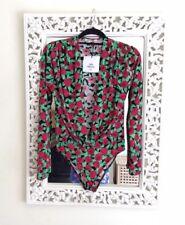 Zara Red Rose Floral Plunge Bodysuit, Size S UK 8 New