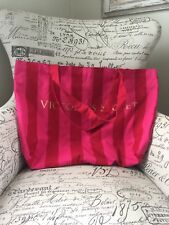 Large Victoria's Secret Tote Bag Logo Stripped Canvas Red/Pink Oversized