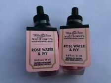 2 x BATH & AND BODY WORKS WALLFLOWER HOME FRAGRANCE REFILL ROSE WATER & IVY