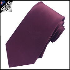 MENS MAROON DEEP BURGUNDY 8.5CM TIE necktie wedding plain Queensland red wine