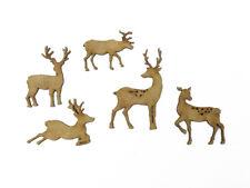 WOODEN MDF WILDLIFE FOREST ANIMAL SHAPE MOOSE ROE DEER CRAFT DECORATION SET OF 5