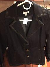 Joan Rivers Dark Denim Jean 3/4 Sleeve Blazer Suit Cropped Capris Pant SZ Small