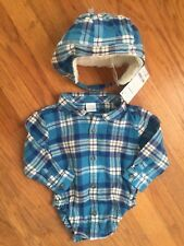 Gymboree Baby Boy 12-18m Flannel Shirt & Hat NWT Free Shipping