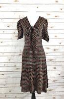 Diane von Furstenberg Womens Knee-Length Short Sleeve V-Neck Neck-Tie Dress 6