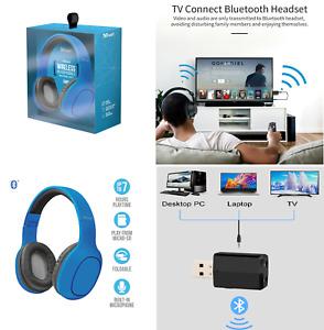 Auriculares Para TV Con Transmisor Inalámbrico Bluetooth 5.0 Plegable Micrófono