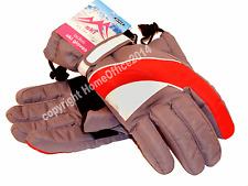 Ladies Gloves Winter Ski New Womens Grey / Red Stripe - Medium