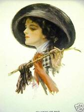 Harrison Fisher Girl THE RACE 1912 Antique Print Matted