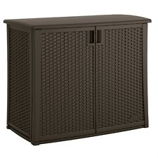 Suncast 97-Gal. Outdoor Resin Patio Wicker Storage Box Cabinet Java - NEW
