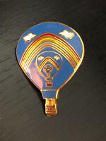 Vintage Collectible Hot Air Balloon Rainbow Colorful Metal Pinback Lapel Pin