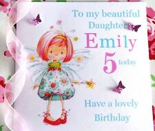 personalised handmade birthday card daughter  granddaughter sister 5th 3rd 4th