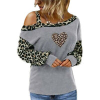 Ladies Long Sleeve Baggy Jumper Pullover Tops Women Leopard Print Blouse