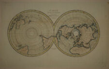 1810 Genuine Antique World map in Hemispheres. Polar Projections. by Tardeau