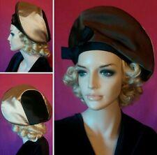 Vintage hat Mr John satin black beige brown 1950 1960