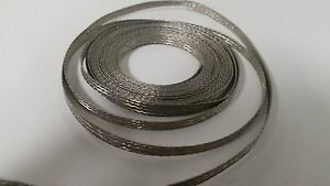 """10 Ft' Flat Braided braid Tinned Copper Wire 3/16"""" Wide Ground Strap USA"""