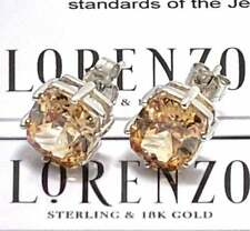 Authentic Lorenzo .925 Sterling Silver, 12.0ctw Golden Topaz Stud Earrings