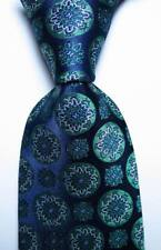 New Classic Geometric Blue Green White JACQUARD WOVEN Silk Men's Tie Necktie