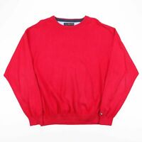 Vintage TOMMY HILFIGER Red Cotton Fine Knit Jumper Men's Size XL