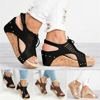 Women Strap Summer Casual Wedge Open Toes Sandals High Heels Flatform Shoes Size