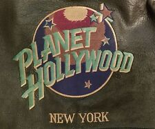 Vintage Planet Hollywood New York Reversible Black Leather Bomber Jacket Sz S