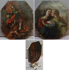Peinture miniature sur cuivre 17e siècle double face Saint Michel Vierge Démon