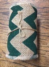 Green Chevron/ Printed Burlap Ribbon 5 in X 5 Yard