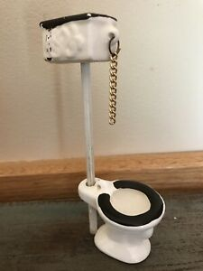 Porcelain Antique Doll House Pull Chain Toilet Victorian
