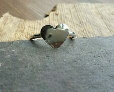 "Handmade Beautiful Polished Heart Stacking Ring-Solid 925 Sterling Silver UK""O"""
