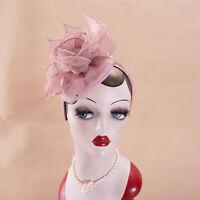 Pink Women Sinamay Fasciantor Kentucky Derby Cocktail Hat Flower Headpiece T351