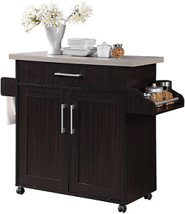 Hodedah Kitchen Island with Spice Rack, Towel Rack  Drawer, Chocolate with Grey