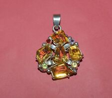 Citrine Large Stone Pendant Vintage Sterling Silver And