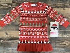 The Childrens Place NWT Girls Christmas Penguin Sweater Dress Tights 2t