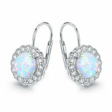18K White Gold Plated White Fire Opal & Cubic Zirconia Flower Huggie Earrings
