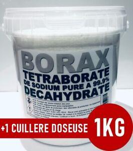 ⭐ 1KG | BORAX DECAHYDRATÉ | TETRABORATE DE SODIUM PURE A 99.9% | +1 Doseuse 25ml