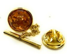GENUINE AMBER TIE TACK LAPEL PIN