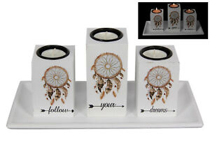 New 28cm Follow Your Dreams Tealight Candle Holder Set w/ Dream Catcher Print