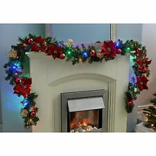New Christmas Pre-Lit Decorated Garland 40 Multi-Colour LED Lights 9ft Red/Gold