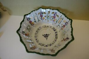 XBBbx PORTUGAL ART POTTERY OPENWORK IMBRICATED BOWL, HAND PAINTED