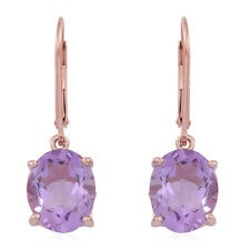 Rose De France Amethyst Lever Back Earrings 14K Rose Gold O/lay S/Silver 6.50cts