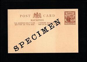 MAURITIUS 2 Cents Brown PREPAID STATIONARY POSTCARD A8 Specimen - M02