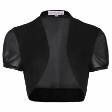 Women Lady Chiffon Short Sleeve Cropped Bolero Shrug Cardigan Jacket Tops Black